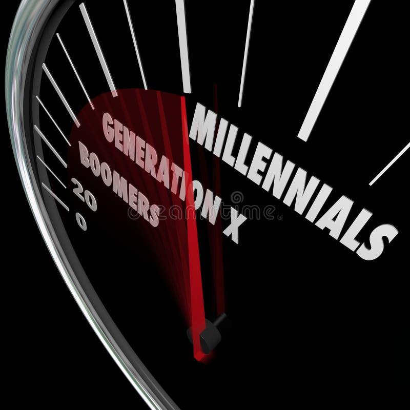 Edades del velocímetro de los nacidos en el baby boom de la generación X de Millennials stock de ilustración
