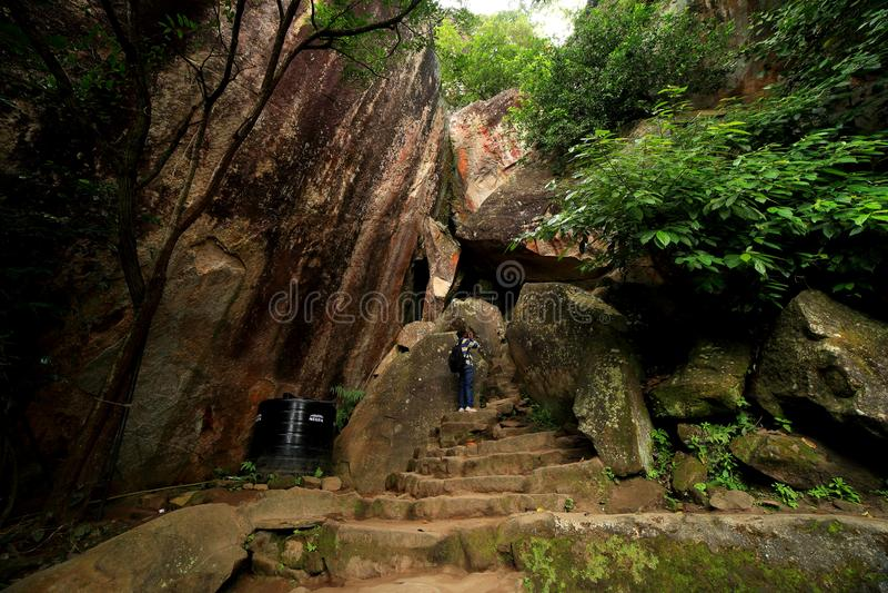 Edakkal洞Wayanad,喀拉拉 库存图片