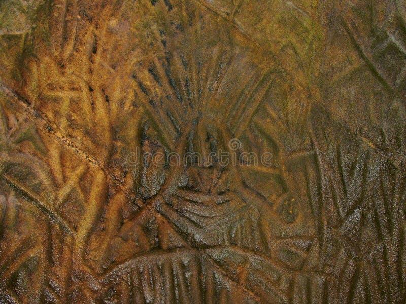 Pictorial writings of stone age man, Edakkal Caves. Edakkal Caves Ambukutty Mala, Batheri, Kerala, India. Circa 6000 BCE. Pictorial writings of stone age man stock photo