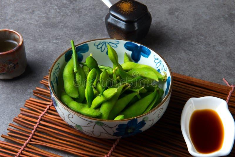 Edamame ångad soyabean för japan gräsplan arkivfoto