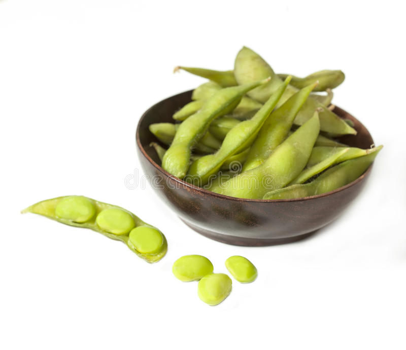 Edamame knaprar, kokade gröna sojabönor royaltyfri bild