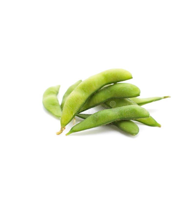 Edamame knaprar, kokade gröna soybönor, japansk mat royaltyfria bilder