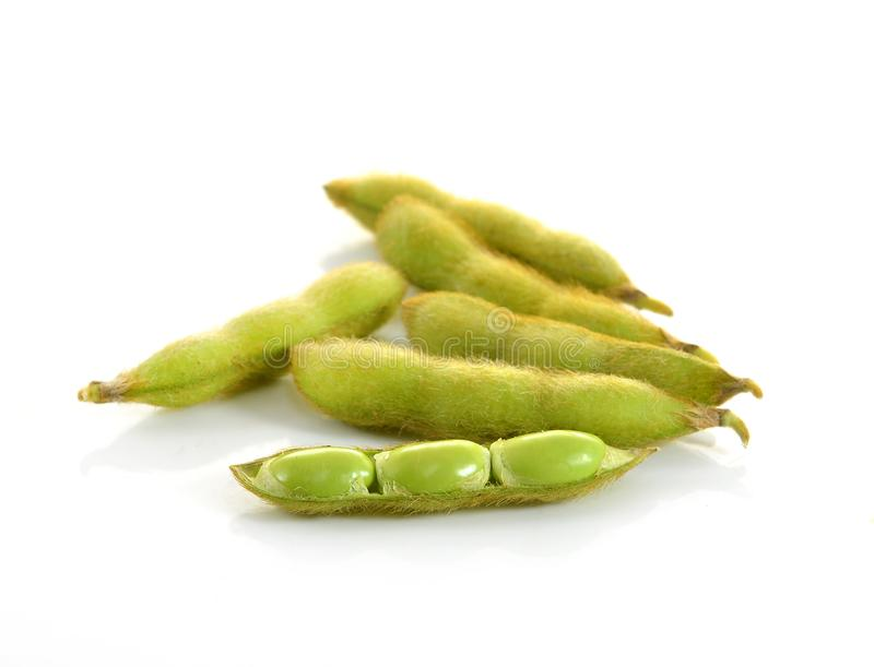 Edamame nibbles, boiled green soy beans, japanese food stock photography