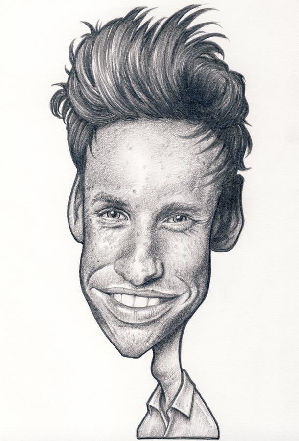 Eddie Redmayne Caricature fotos de archivo libres de regalías