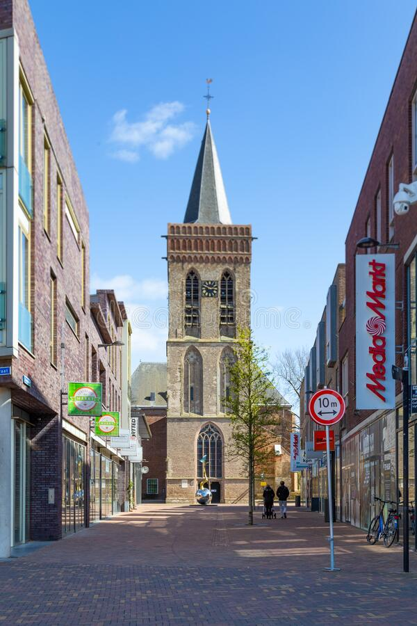 City centre Ede in the Netherlands,. Ede, Netherlands, April 13, 2020: City centre with shopping street and church in Ede, Gelderland, Netherlands stock photo