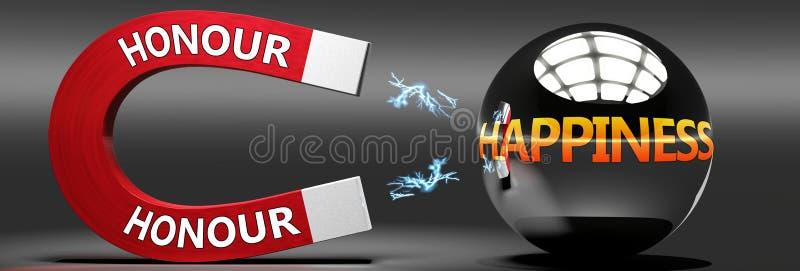 Edelachtbare leidt tot geluk, vreugde en plezier - dit abstracte idee wordt gezien als een rode magneet met twee grote Eer-logo d stock illustratie