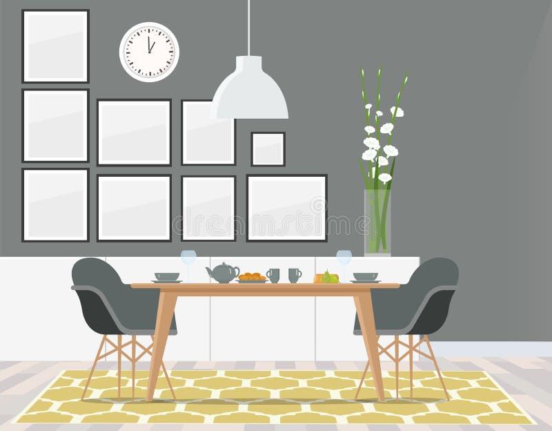 Edele grijze eetkamer met geel tapijt royalty-vrije illustratie