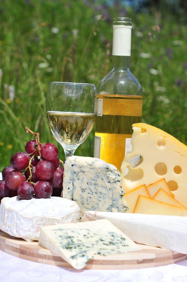 Edele kaas met wijn royalty-vrije stock afbeelding