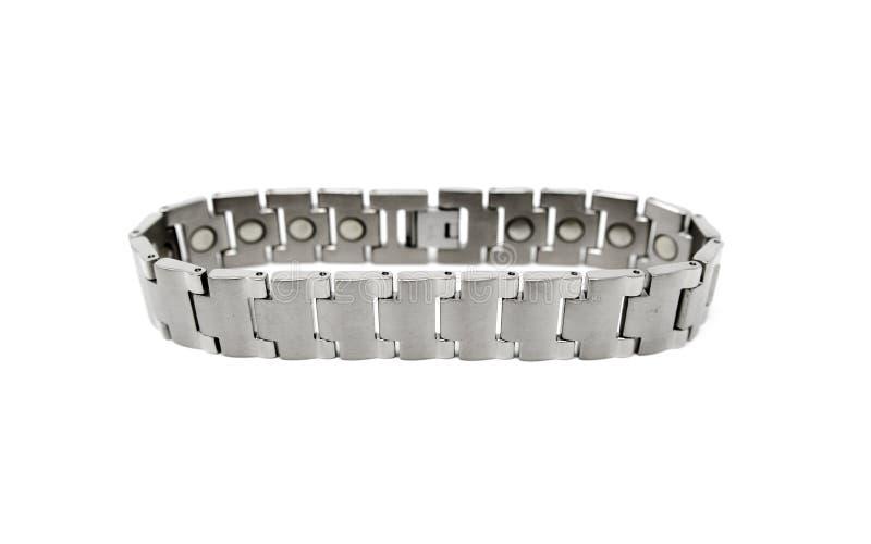 Edelstahl silberner Gray Magnetic Bracelet lizenzfreie stockfotos