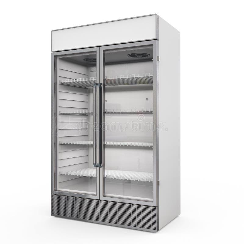Edelstahlwerbungskühlschrank lizenzfreie stockbilder