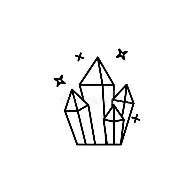 Edelstein, Diamant, magische Ikone r Dünne Linie Ikone für Websitedesign und -entwicklung stock abbildung