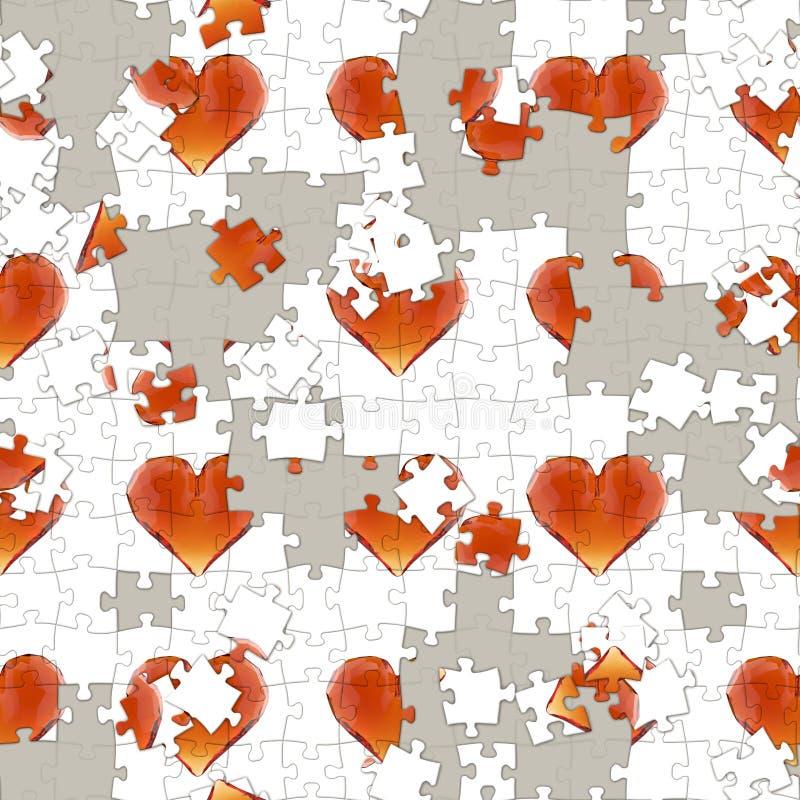 Edelsteinherzen der Illustration 3d herein für nahtloses Muster des Rätselspiels Goldinnere auf Rot lizenzfreie abbildung