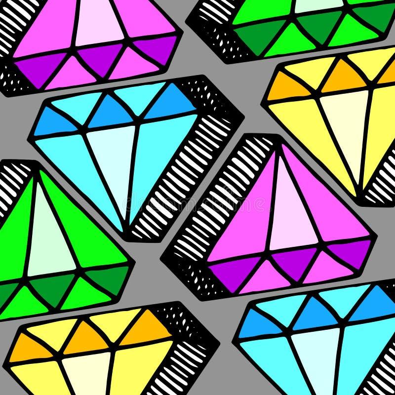 Edelsteinikonen-Edelstein Kristallje des Diamantvektors glänzendes glänzendes vektor abbildung