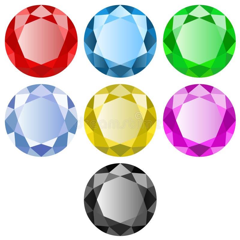 Edelstenen van verschillende kleuren op witte achtergrond royalty-vrije illustratie