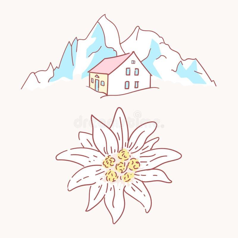 Edelweiss瑞士山中的牧人小屋小屋客舱山标志登山阿尔卑斯德国商标 向量例证