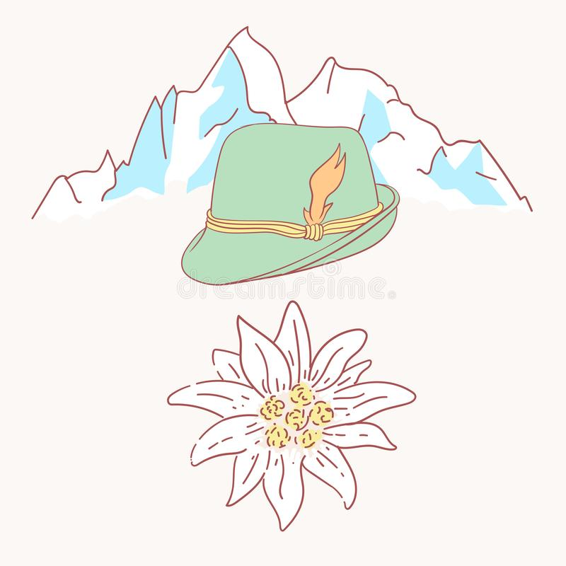 Free Edelweiss Tyrolean Hat Flower Symbol Alpinism Alps Germany Logo Stock Photography - 122239462