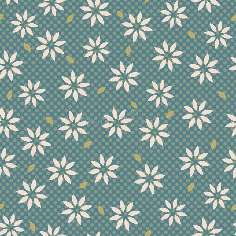 Edelweissblommamotiv Daisy Style Seamless Vector Pattern tecknad hand vektor illustrationer
