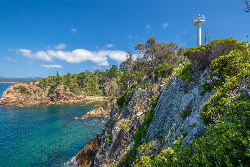 The Eden cliffs. Rotary Park lookout: the cliffs of the spectacular Eden in the sapphire coast, on Twofold Bay, is a coastal town in the South Coast region of stock photo