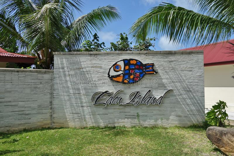Eden Island Marina voor luxejachten in Mahe, Seychellen stock afbeeldingen