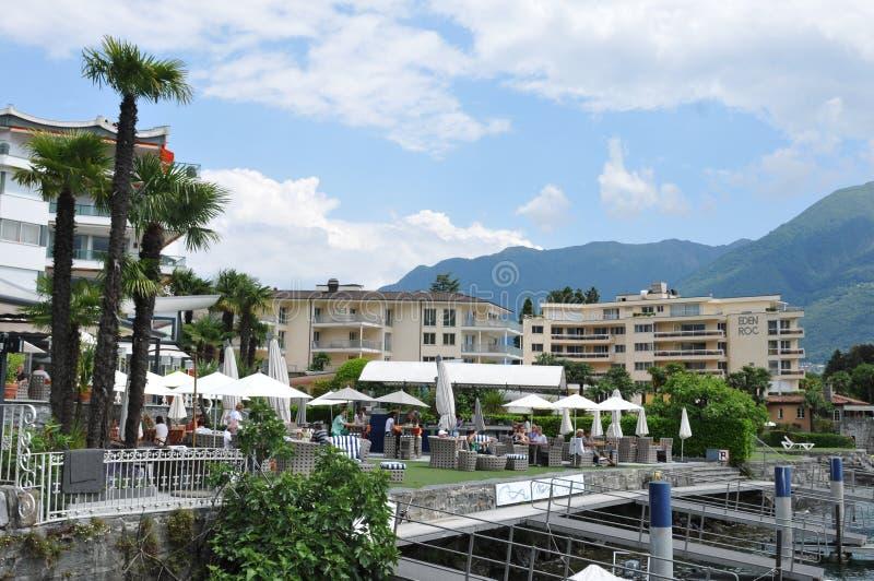 Eden Rock Hotel bij Meer Maggiore in Ticino stock foto