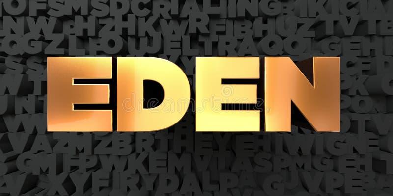 Eden - texto del oro en fondo negro - imagen común libre rendida 3D de los derechos stock de ilustración
