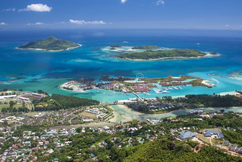 Eden wyspa i Sainte Anne żołnierza piechoty morskiej Na Seychelles, Mahe wyspa - obraz stock