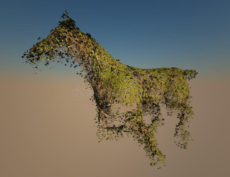 Edera che cresce nella figura del cavallo illustrazione vettoriale
