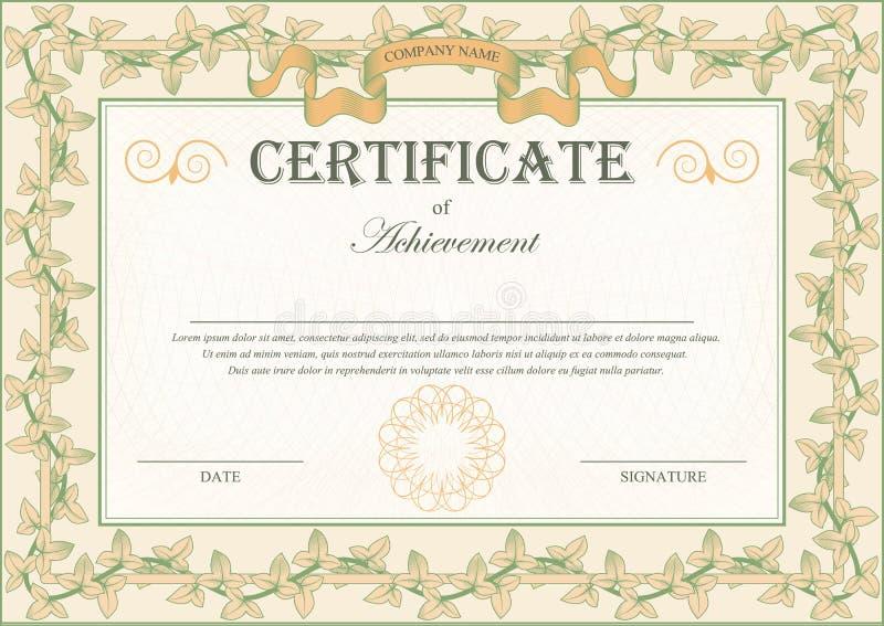 Edera d'annata del convolvolo della struttura dell'ornamento del certificato illustrazione vettoriale