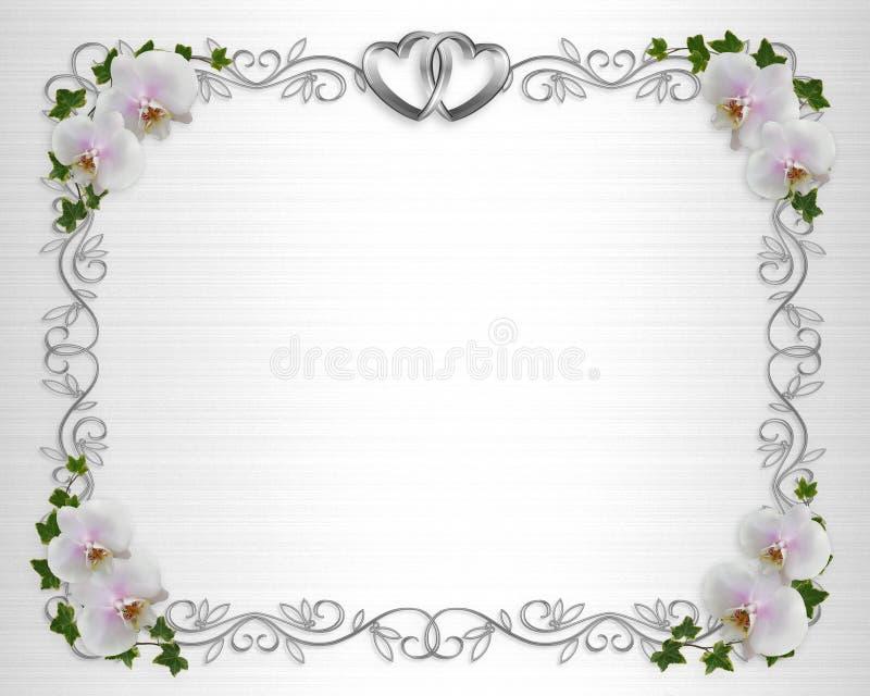 Edera delle orchidee del bordo dell'invito di cerimonia nuziale illustrazione di stock
