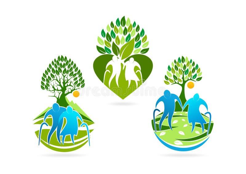 ederly logo, högt symbol, sund omsorgsymbol och sjukvårdbegreppsdesign royaltyfri illustrationer