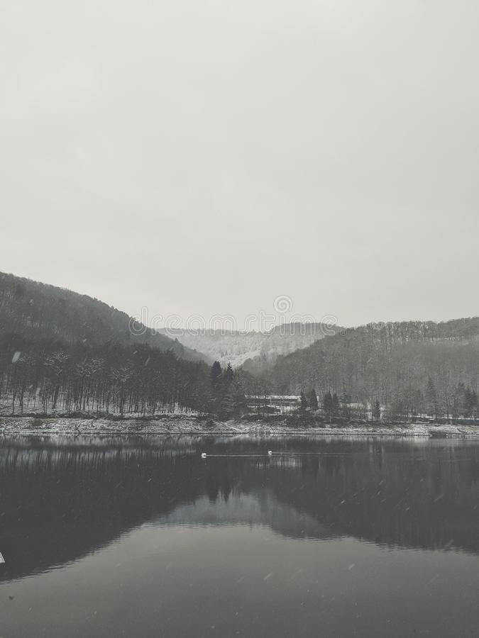 Lake in winter stock photo