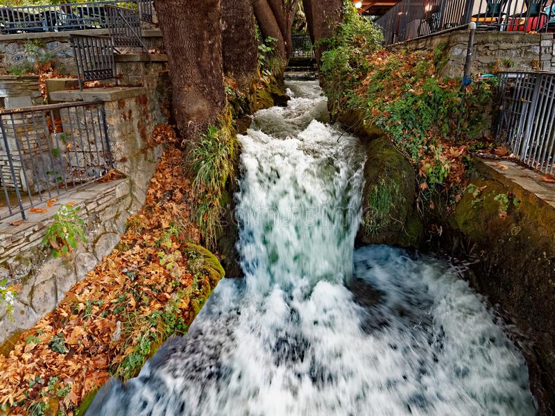 Edessa waterfall, Macedonia, Greece. The Edessa Waterfalls written as Eδεσσα in Greek passes through the town of Edessa in Pella, Macedonia royalty free stock photos