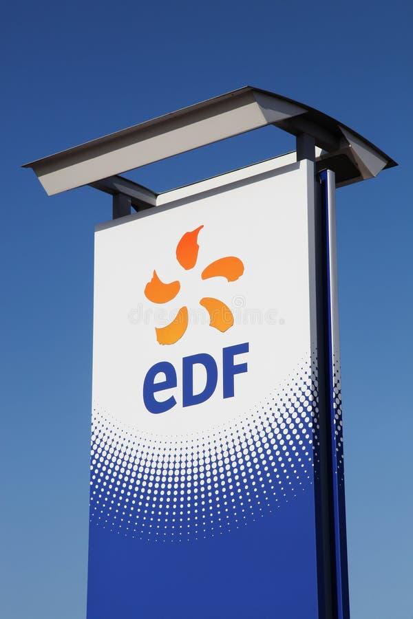 EDF-embleem op een paneel stock afbeeldingen