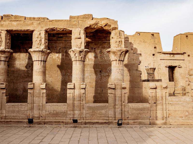 Edfu Temple Columns also known as the Temple of Horus in ancient Egypt royalty free stock photography