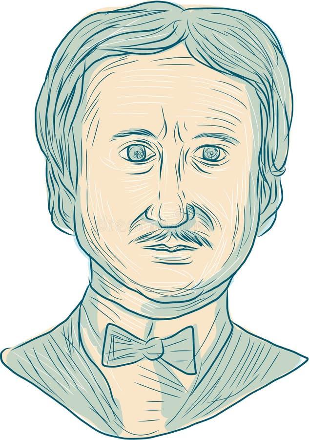 Edgar Allan Poe pisarza rysunek ilustracja wektor