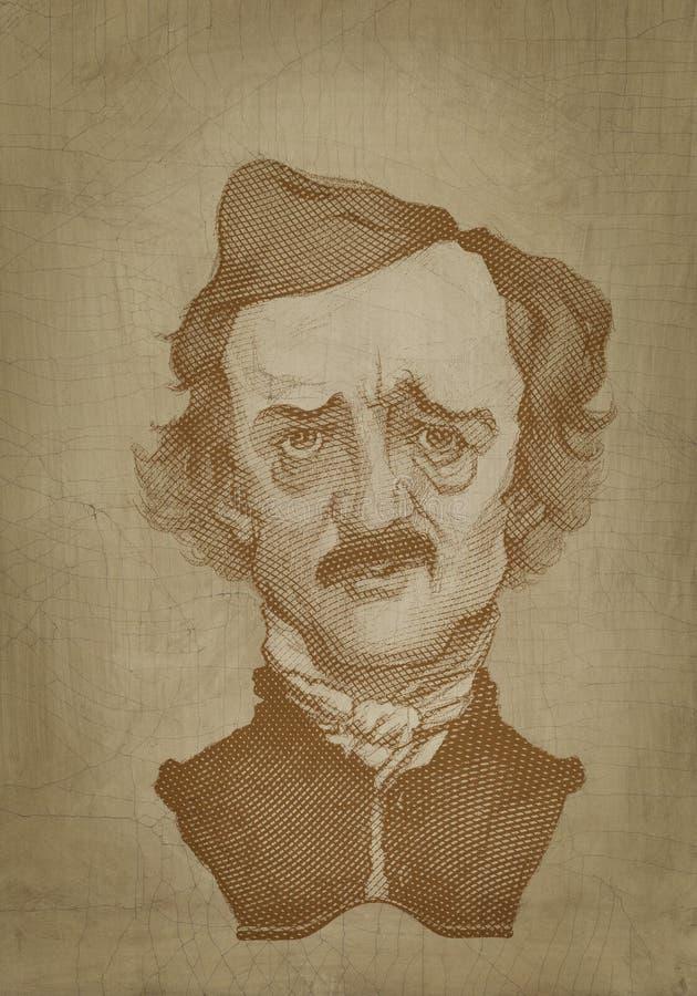 Edgar Allan Poe portreta rytownictwa sepiowy styl ilustracja wektor