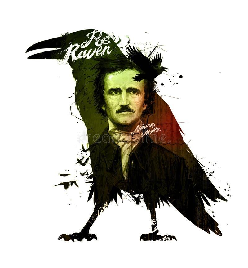 Edgar Allan Poe, rysuje na odosobnionym białym tle dla druku i sieci Ilustracja, kaligrafia dla wnętrza obraz royalty ilustracja