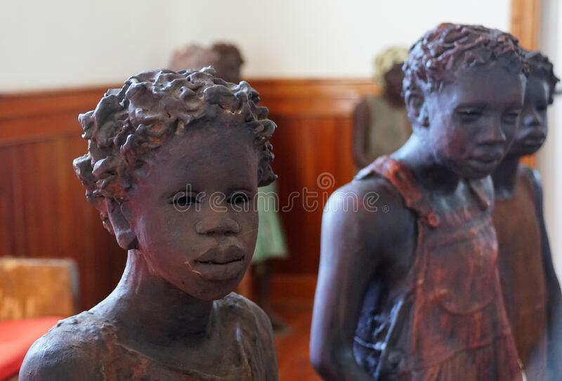 Edgard, Louisiana, U.S.A - February 2, 2020 - The statue of the African American girl inside the church near Whitney Plantation royalty free stock photography