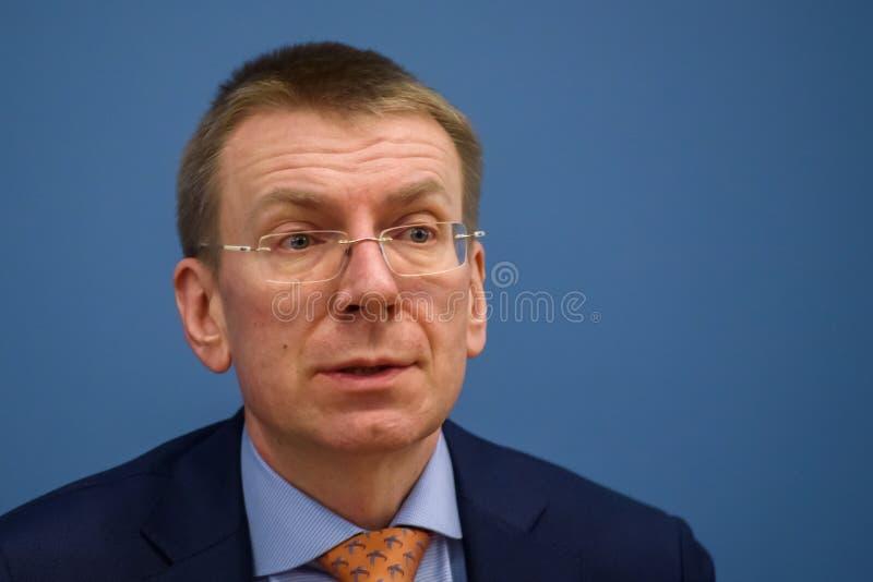 Edgars Rinkevics, lettisk minister av utländskt - angelägenheter royaltyfri foto