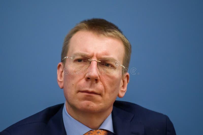 Edgars Rinkevics, lettisk minister av utländskt - angelägenheter royaltyfri fotografi
