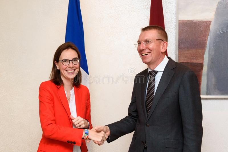 Edgars Rinkevics, during meeting with Amelie de Montchalin stock image