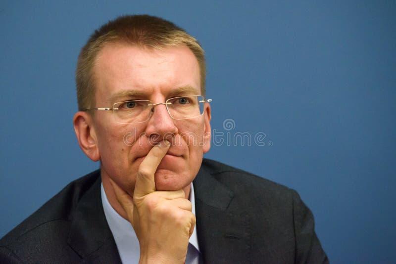 Edgars Rinkevics, minister av utländskt - angelägenheter av Lettland arkivbilder