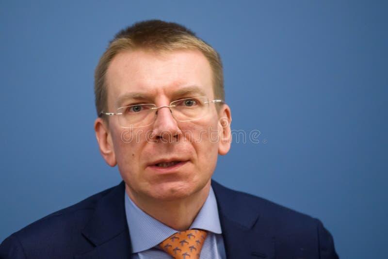 Edgars Rinkevics, ministro de asuntos exteriores letón foto de archivo