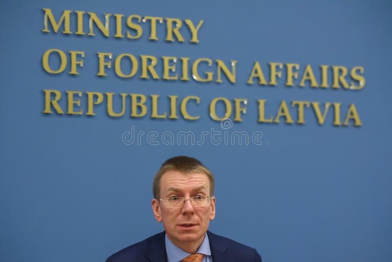 Edgars Rinkevics, ministro de asuntos exteriores de Letonia fotografía de archivo