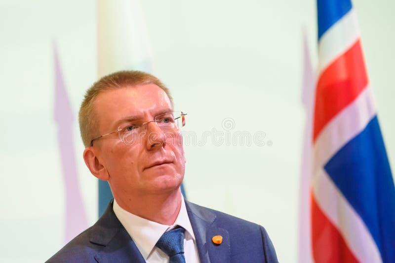 Edgars Rinkevics, ministro degli affari esteri della Lettonia immagini stock libere da diritti