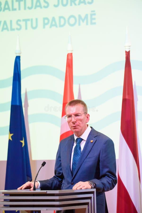 Edgars Rinkevics, ministro degli affari esteri della Lettonia fotografie stock libere da diritti