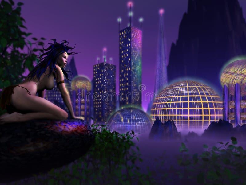 Download Edge of civilisation stock illustration. Illustration of skyscrapers - 211790