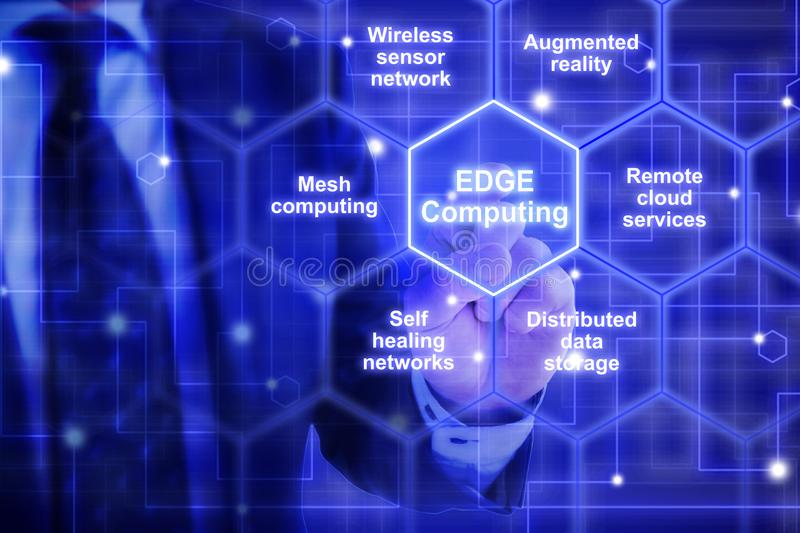 Edge computing hexagon grid with keywords from an IT expert. IT expert in a blue suit touches a hexagon tile with the words edge computing surrounded by specific stock images