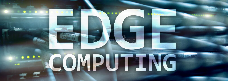 EDGE computing, internet and modern technology concept on modern server room background. EDGE computing, internet and modern technology concept on modern server royalty free illustration