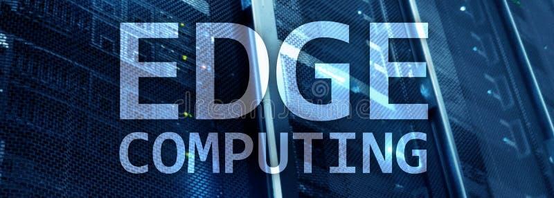 EDGE computing, internet and modern technology concept on modern server room background.  vector illustration